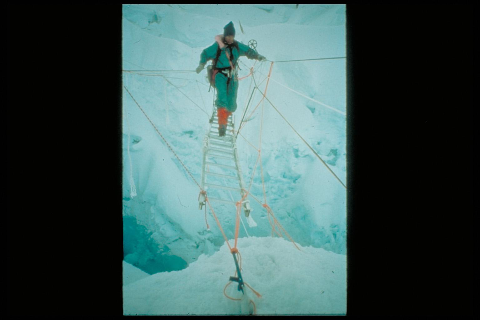 Ladder crossing on Mt. Everest
