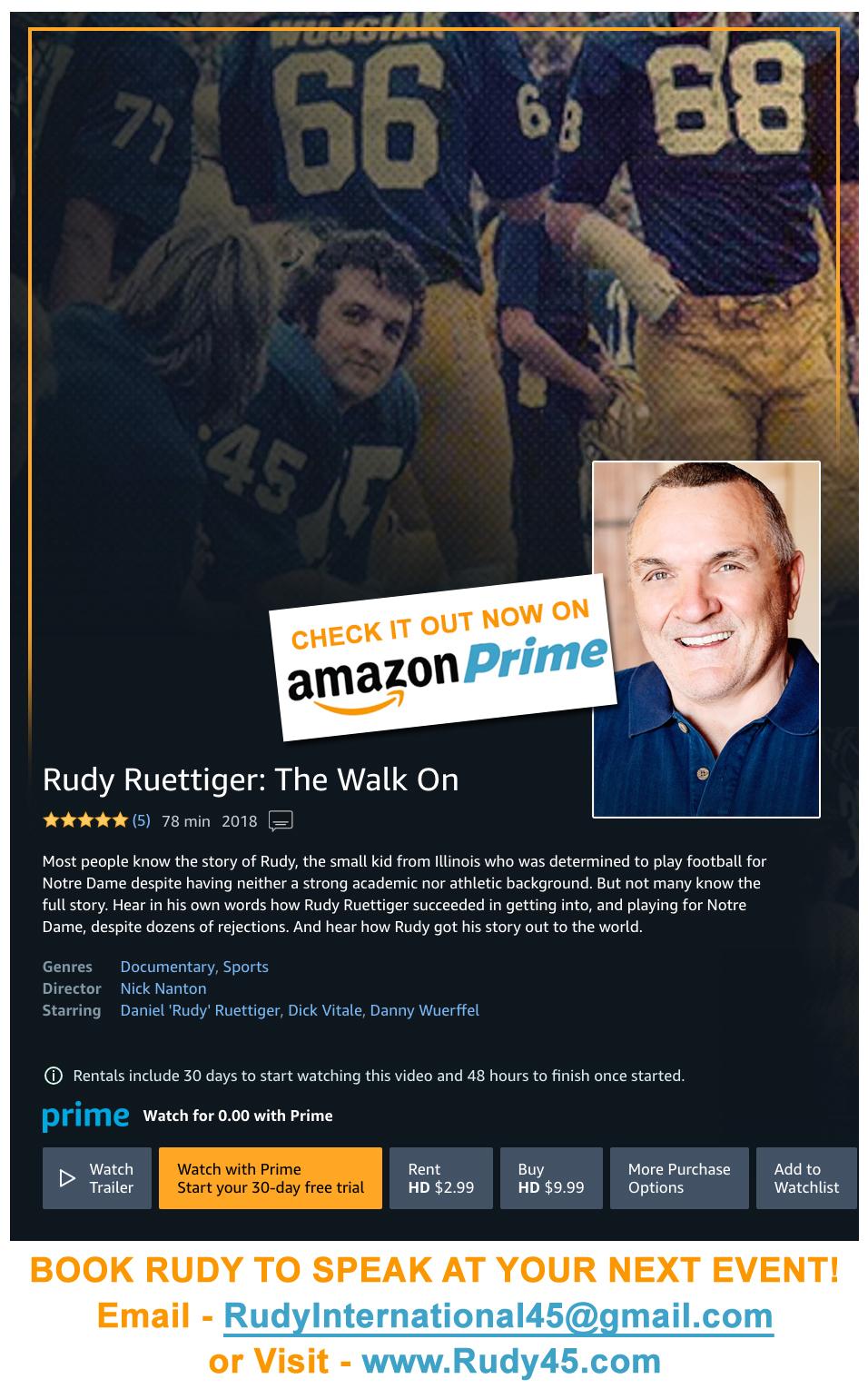 Rudy The Walk On Documentary